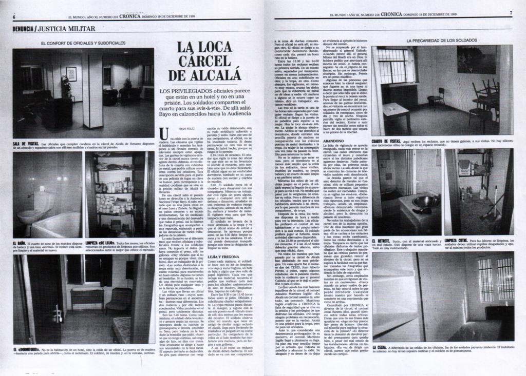Artículo de prensa sobre la cárcel de Alcalá, con fotos del interior de la misma tomadas de manera «irregular» no sé por quién.