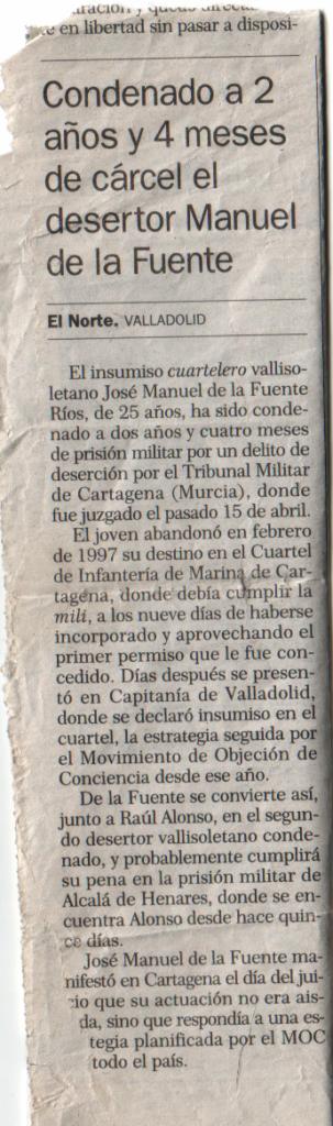 Artículo de El Norte de Castilla que expone mi condena a 2 años y cuatro meses de cárcel.