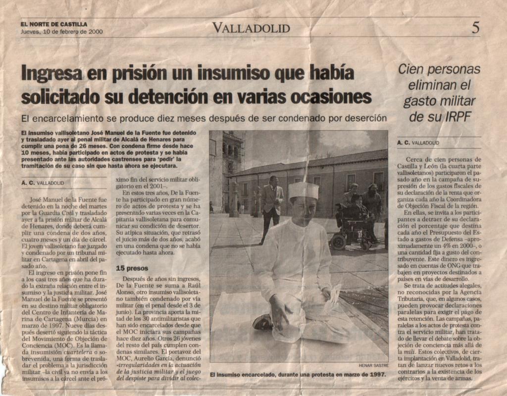 Noticia de prensa que expone mi ingreso en prisión en febrero del año 2000