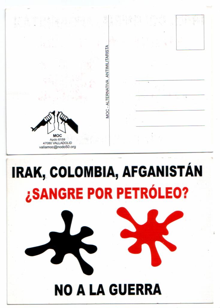 """Postal de """"No a la guerra"""" que repartimos meses antes de la invasión de Irak de 2003. Son unas manchas roja (por la sangre) y negra (por el petróleo), con la leyenda «no más sangre por petróleo»."""