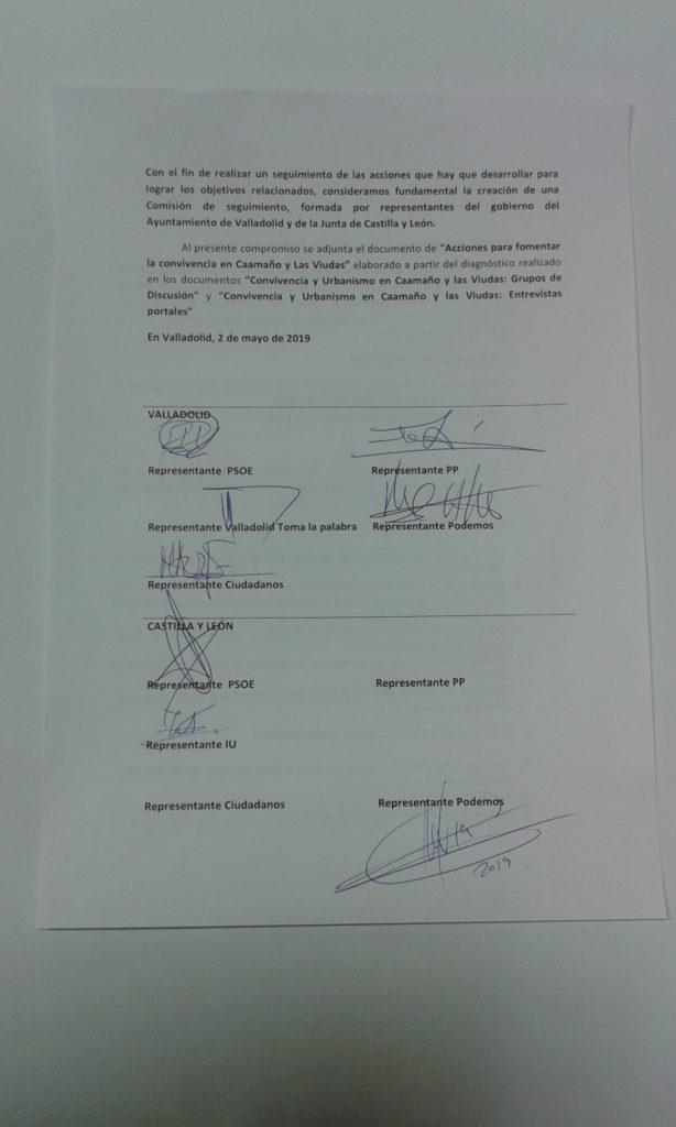 Imagen de las firmas de los partidos políticos por las que se comprometen con las propuestas de Red Delicias. PP, PSOE, Podemos, Izquierda Unida y Ciudadanos, valladolid Toma la Palabra