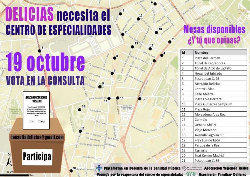 Cartel informativo sobre la consulta del 19 de octubre para la reapertura del centro de especialidades médicas de la calle Trabajo, horarios y mesas, desarrollado en la entrada