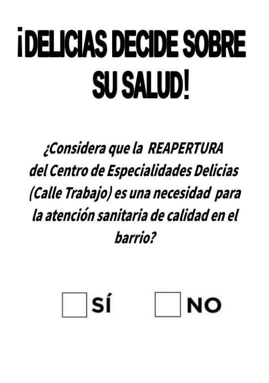 cartel sobre la consulta ciudadana por el centro de especialidades médicas de la calle Trabajo en Delicias, el 19 de octubre de 2019