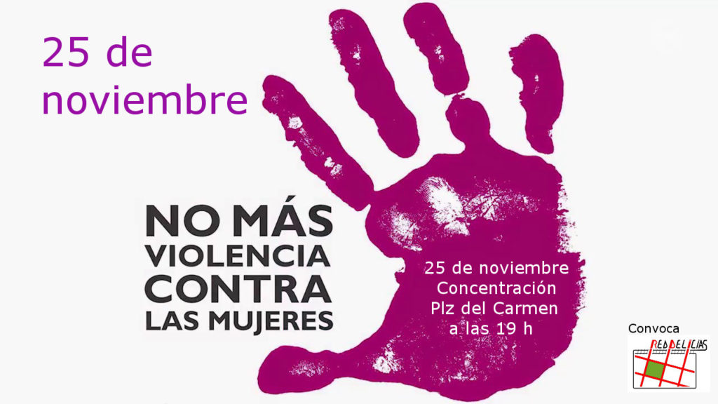cartel concentración 25 noviembre 2019 contra la violencia de género en la Plaza del Carmen (Valladolid)