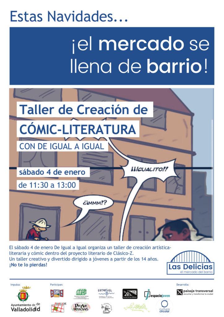 Cartel del taller de cómic y literatura que se impartió el día 4 de enero por ClásicoZ en el mercado municipal Delicias