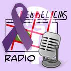 Logo de Red Delicias con un micro y el lazo violeta,