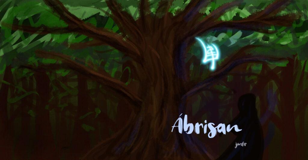 Portada y contraportada. Una sola ilustración con árbos central, cuyas ramas ocupan todo el espacio. A su derecha, una runa brillante; también, abajo, una figura humana con capa oscura, el título del libro y la autoría en pequeño
