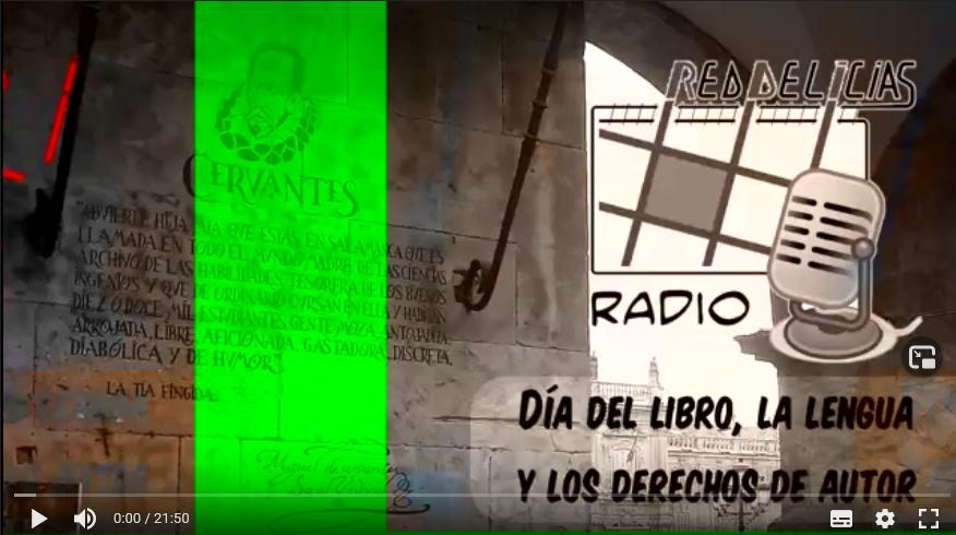 Foto de texto de Cervantes sobre piedra en Salamanca con logo de Red Delicias y lema del día