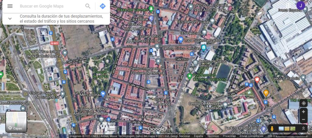 Mapa de Caamaño-Las Viudas Valladolid (google maps)